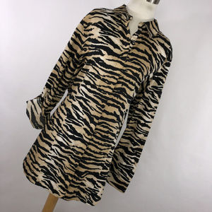 Chico's Chicos 3 XL Shirt Tan Brown Black Animal